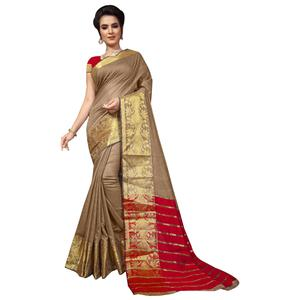 Groovy Chiku Colored Festive Wear Woven Cotton Silk Saree