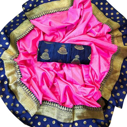 Charming Pink Colored Festive Wear Silk Saree