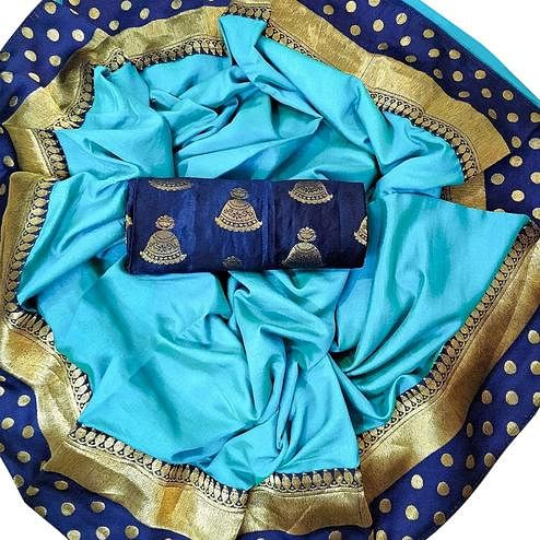 Appealing Sky Blue Colored Festive Wear Silk Saree