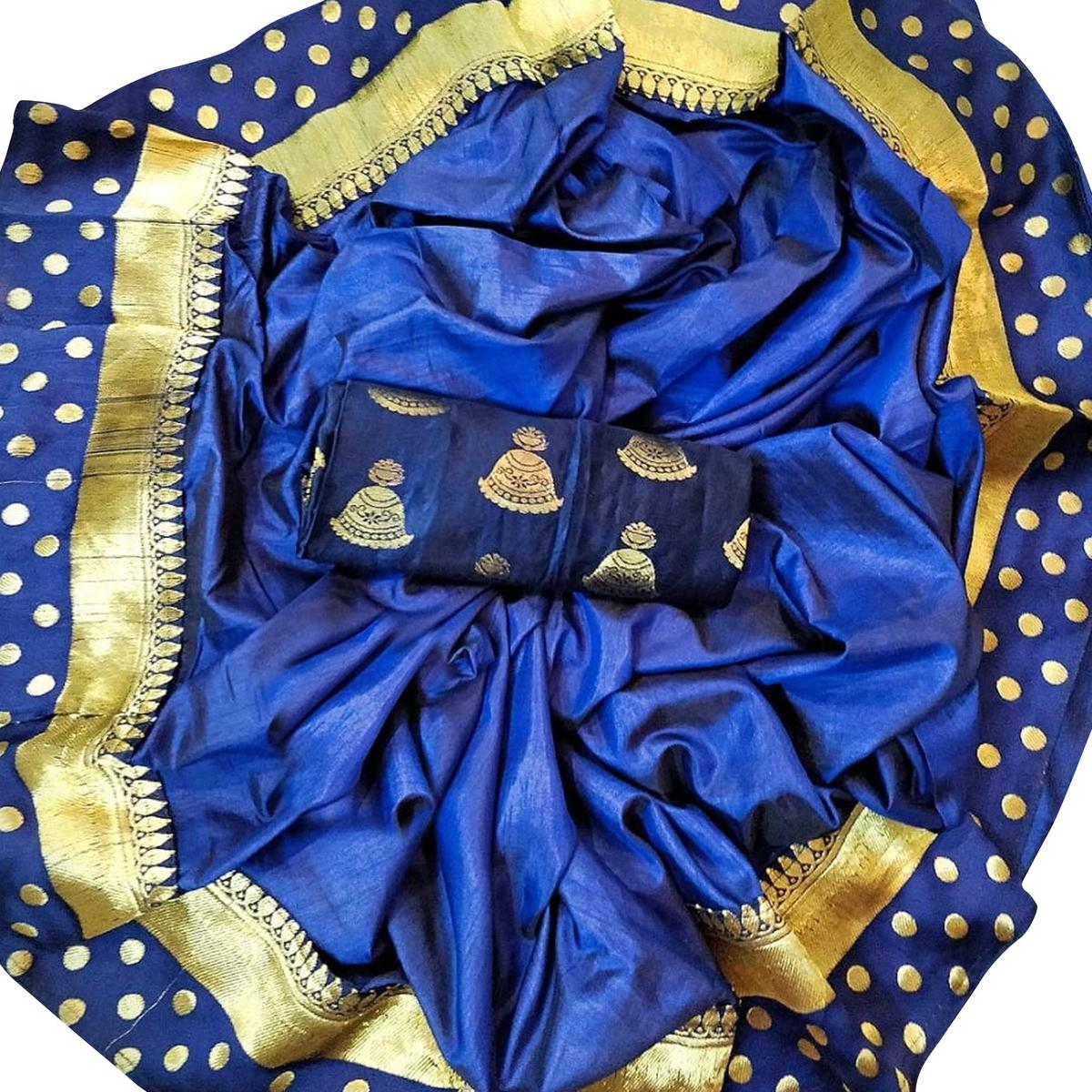 Attractive Navy Blue Colored Festive Wear Silk Saree