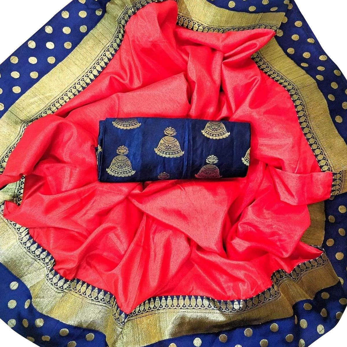 Gleaming Red Colored Festive Wear Silk Saree