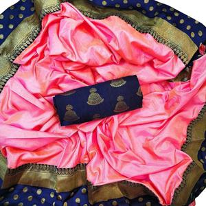 Perfect Light Pink Colored Festive Wear Silk Saree