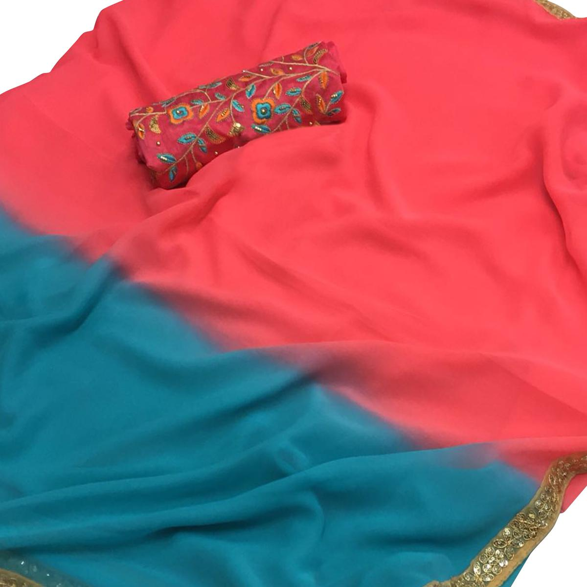 Attractive Peach-Blue Colored Partywear Embroidered Georgette Saree