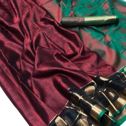 Amazing Maroon-Green Colored Festive Wear Woven Banarasi Silk Saree