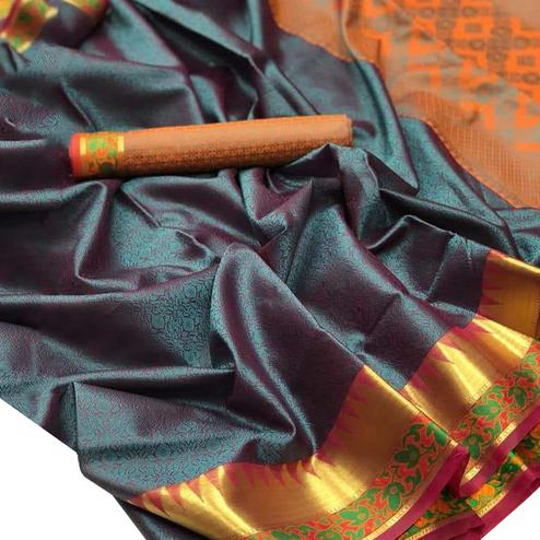 Beautiful Teal-Orange Colored Festive Wear Woven Banarasi Silk Saree