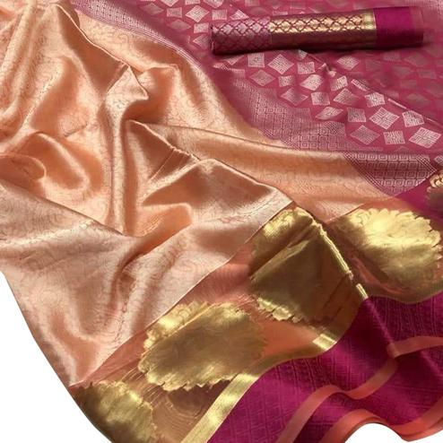 Hypnotic Peach-Dark Pink Colored Festive Wear Woven Banarasi Silk Saree