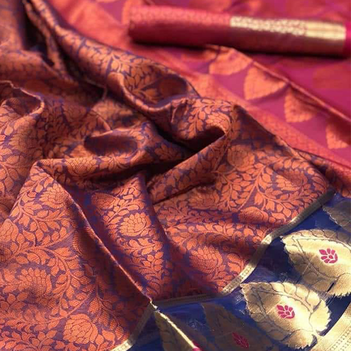 Blooming Blue-Pink Colored Festive Wear Woven Banarasi Silk Saree