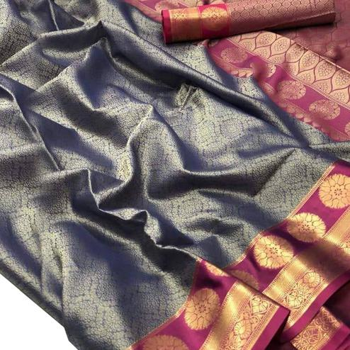 Staring Blue-Pink Colored Festive Wear Woven Banarasi Silk Saree