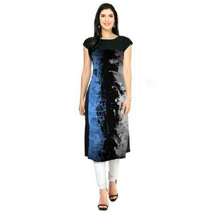 Stylish Black Colored Casual Printed Crepe Kurti