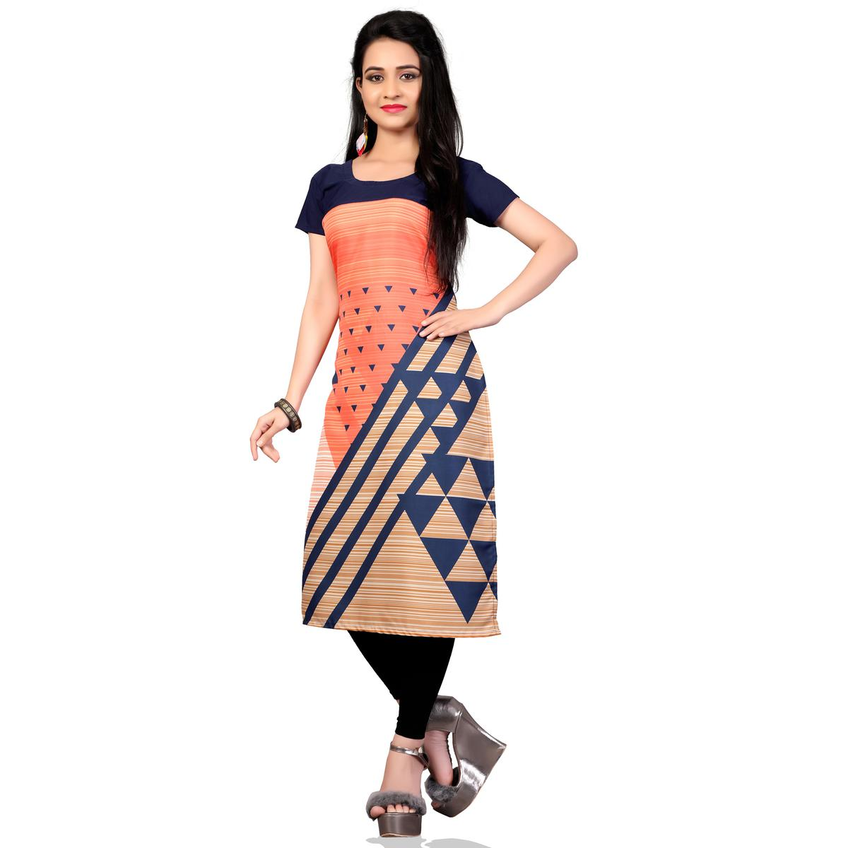 Lovely Multi Colored Casual Printed Crepe Kurti
