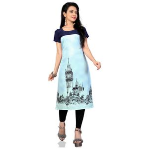 Appealing Sky Blue Colored Casual Printed Crepe Kurti