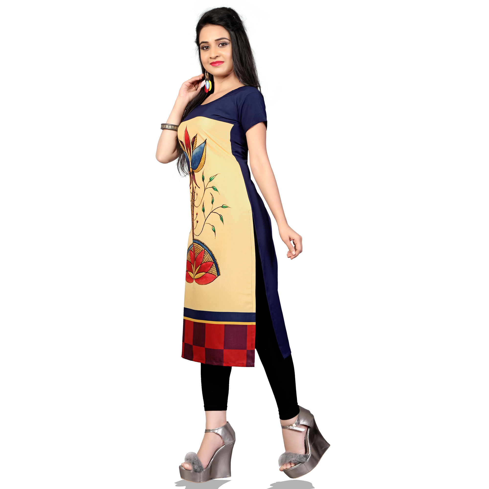 Pleasant Beige Colored Casual Printed Crepe Kurti