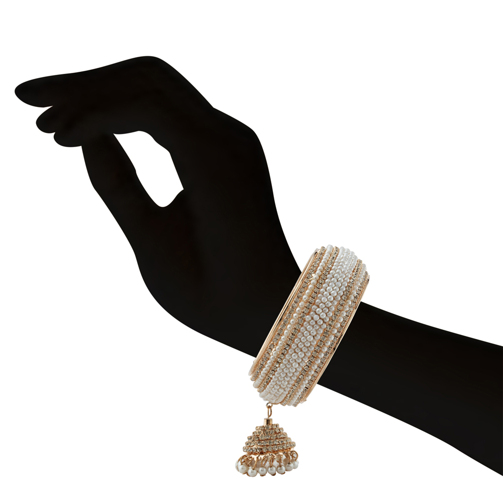 White Pearl & Stone Jhumka Bangle
