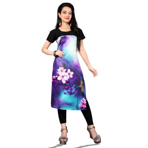 Attractive Multi Colored Casual Printed Crepe Kurti