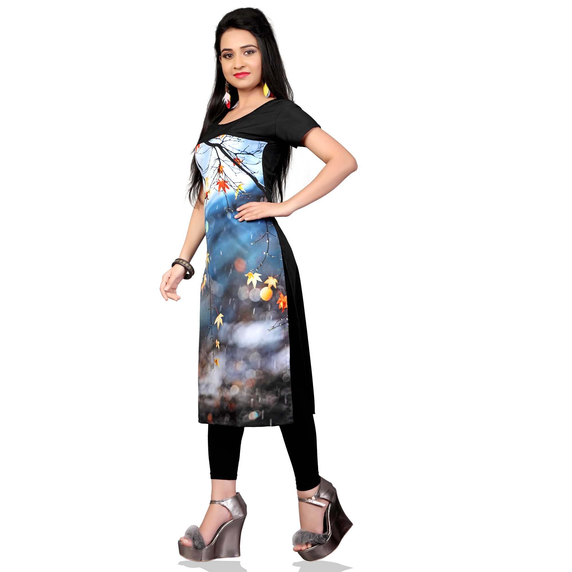 Eye-Catching Multi Colored Casual Printed Crepe Kurti