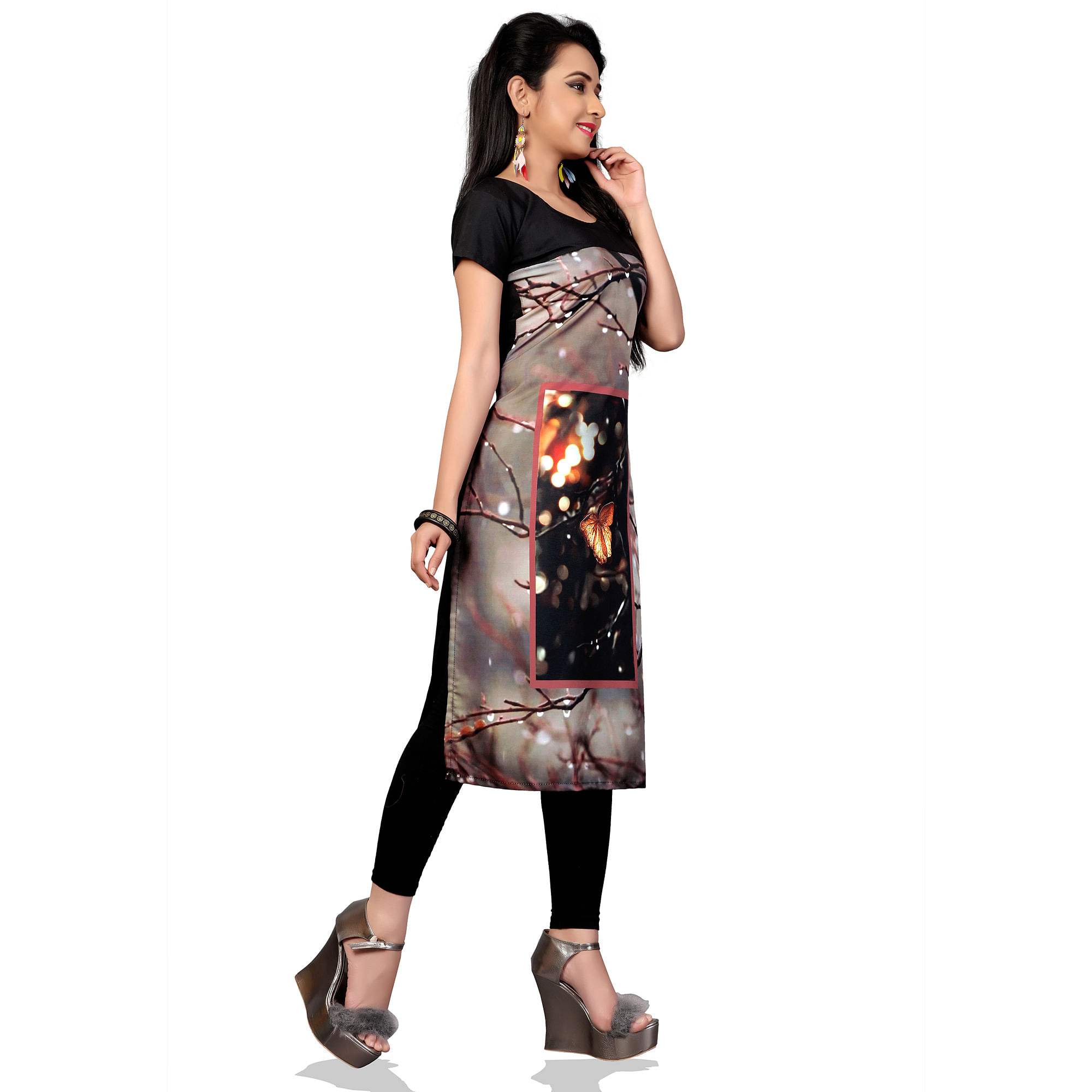 Trendy Gray Colored Casual Printed Crepe Kurti