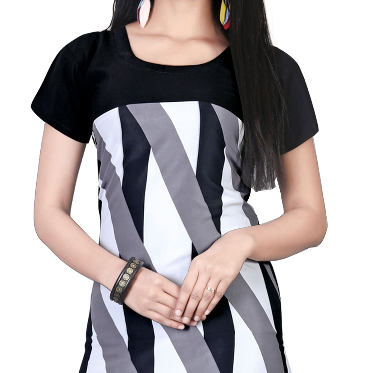 Different Black-White Colored Casual Printed Crepe Kurti