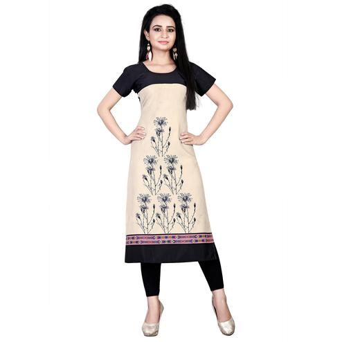 Refreshing Cream Colored Casual Printed Crepe Kurti