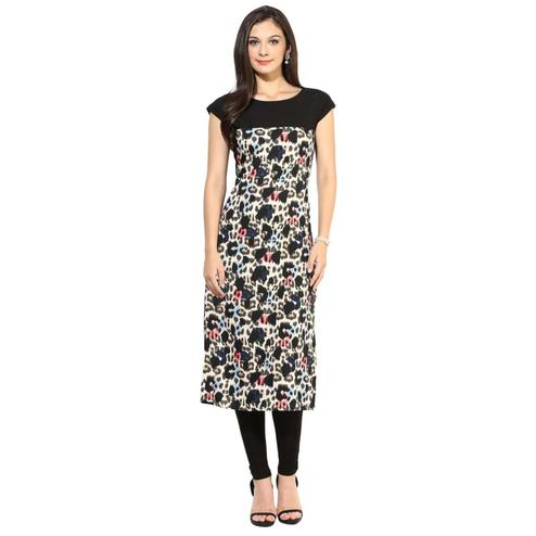 Exotic Black Colored Casual Printed Crepe Kurti