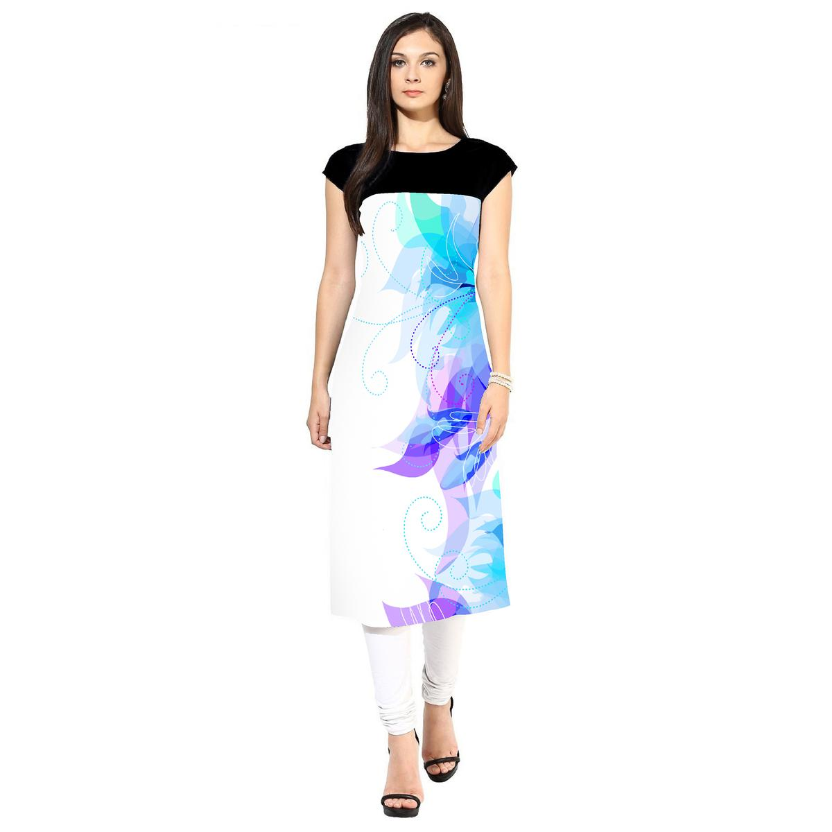 Amazing White Colored Casual Printed Crepe Kurti