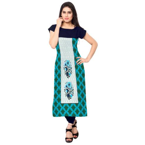 Groovy Blue Colored Casual Printed Crepe Kurti