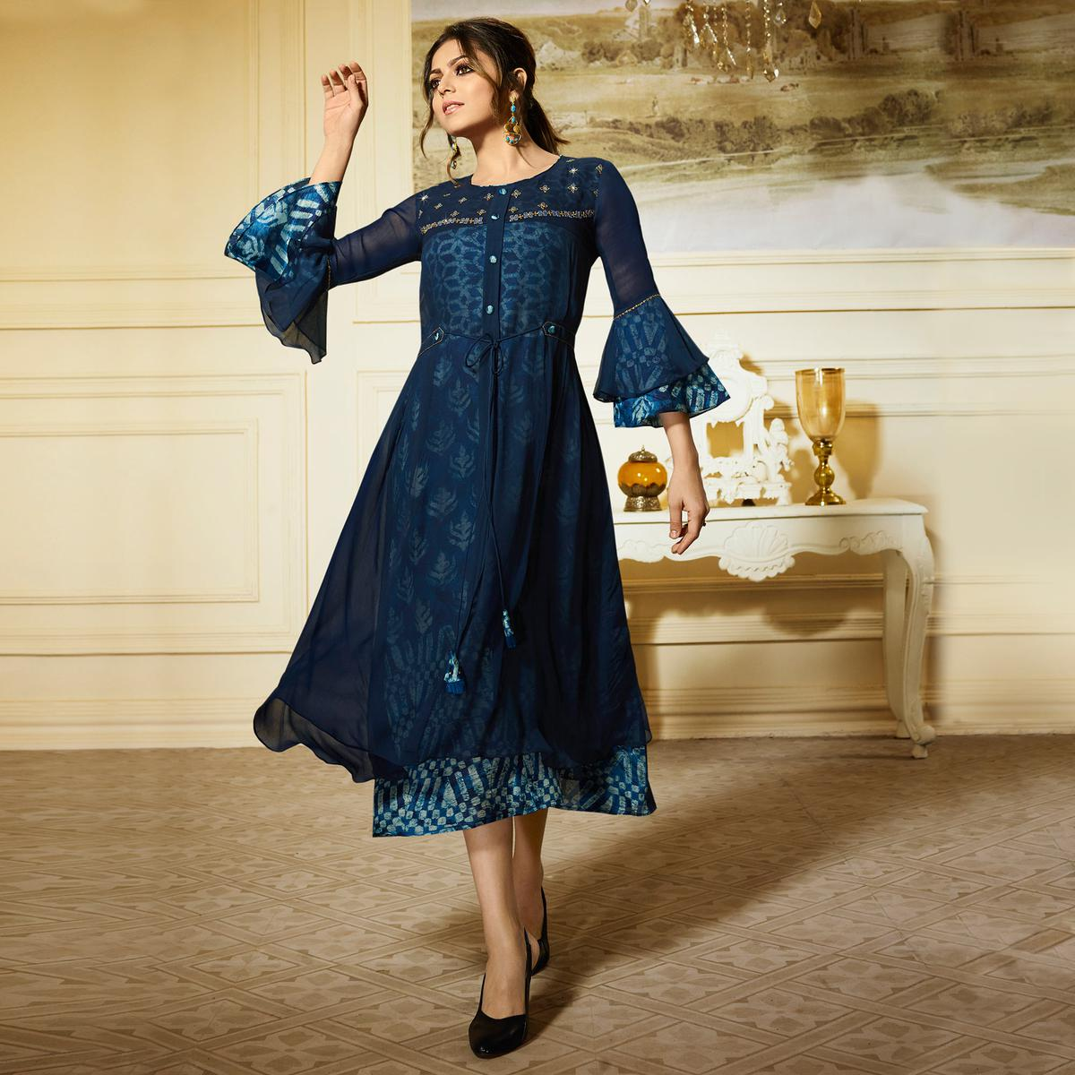 Eye-Catching Dark Blue Colored Partywear Embroidered Georgette Kurti