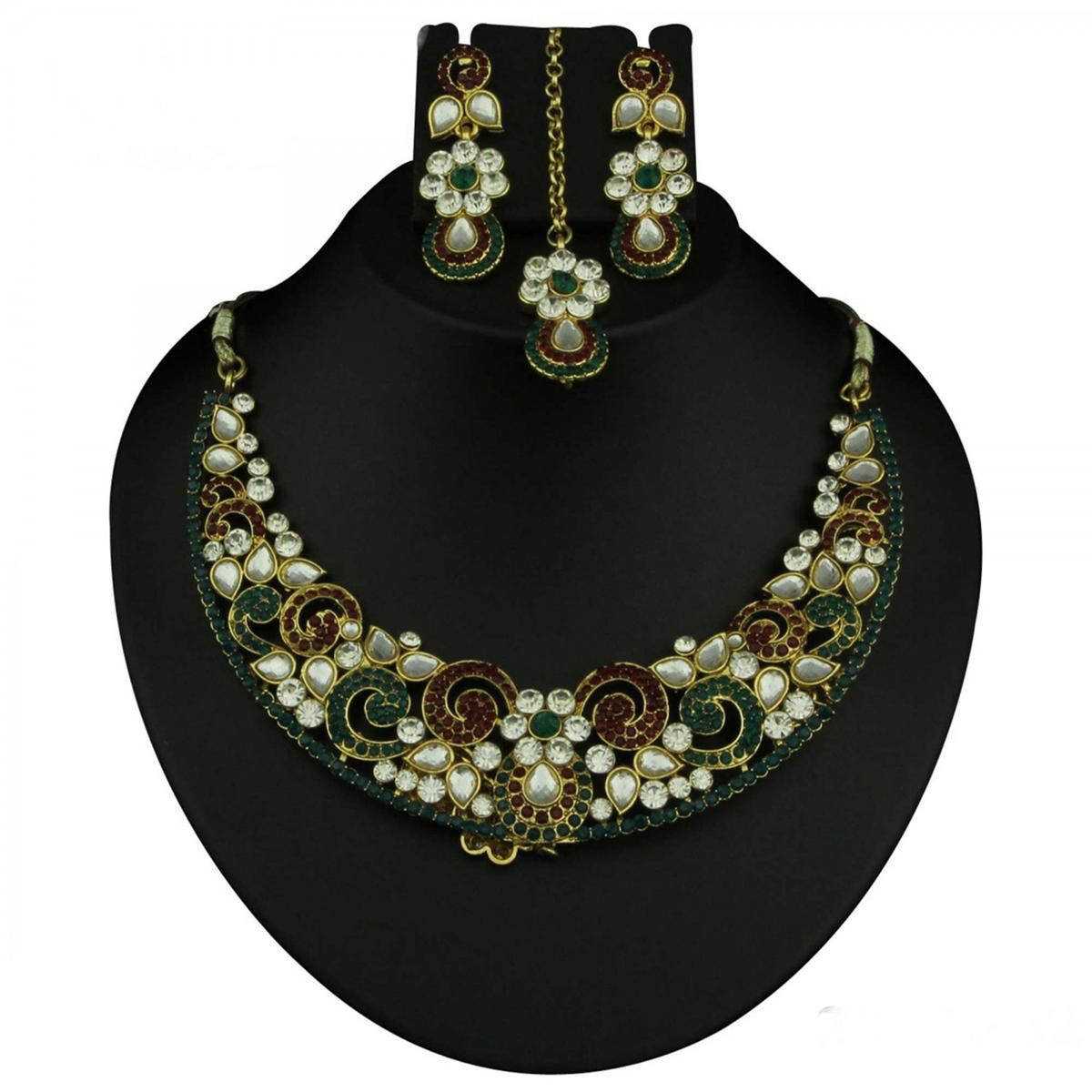 Kundan Red & Green Austrian Stone Gold Finish Necklace Sets With Maang Tikka