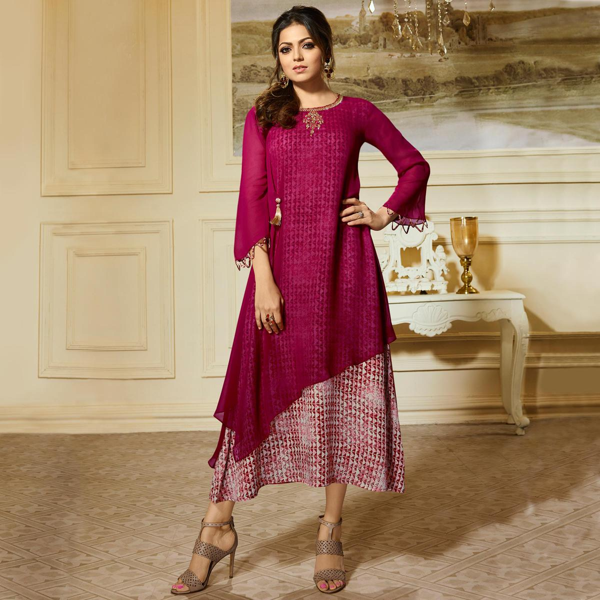 Gorgeous Magenta Pink Colored Partywear Embroidered Georgette Kurti