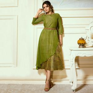 Appealing Green Colored Partywear Embroidered Georgette Kurti