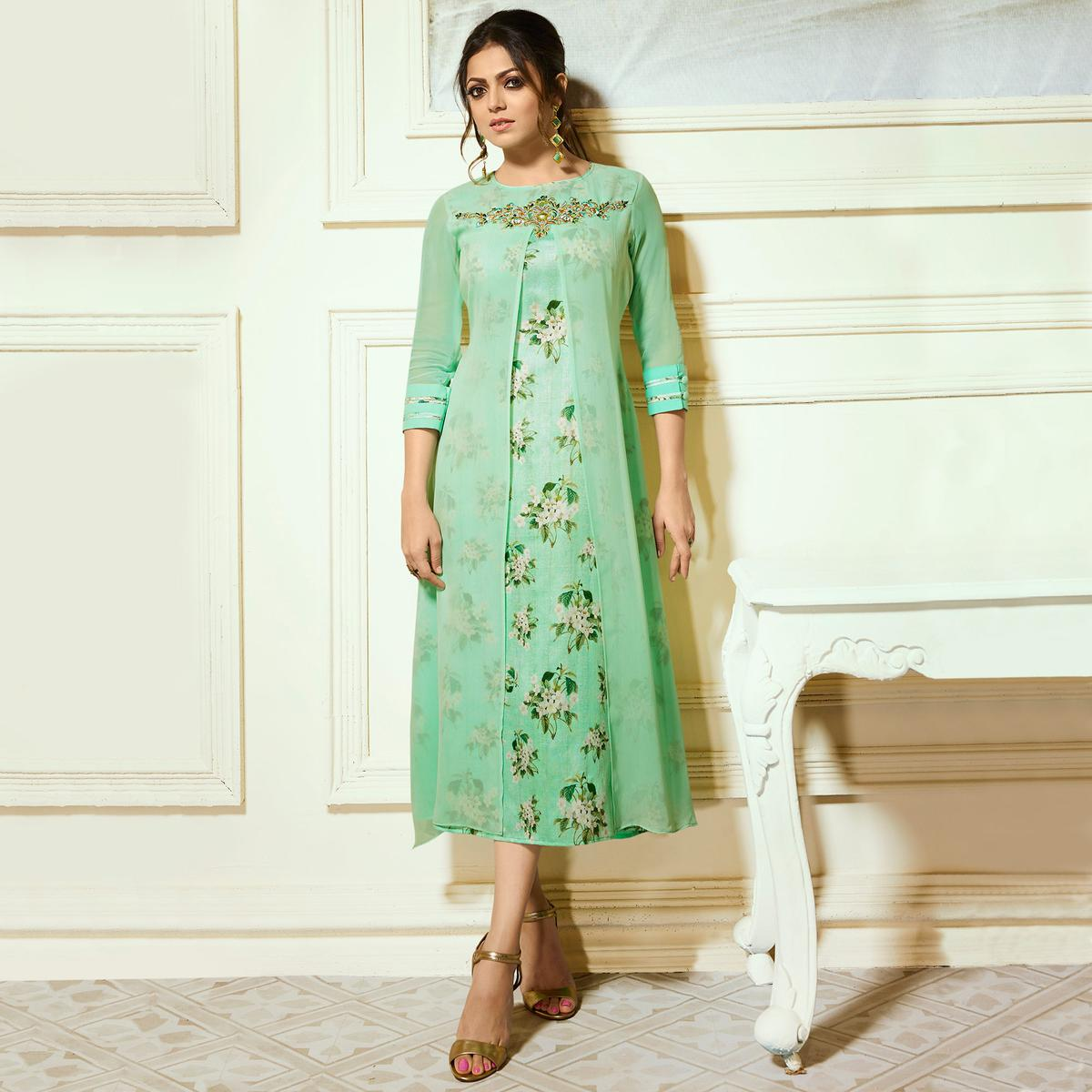 Exceptional Aqua Green Colored Partywear Embroidered Georgette Kurti