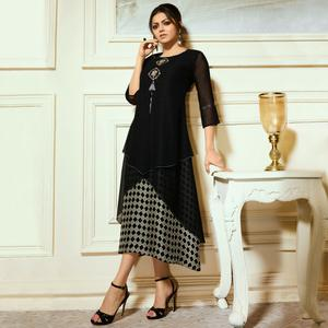 Flamboyant Black Colored Partywear Embroidered Georgette Kurti