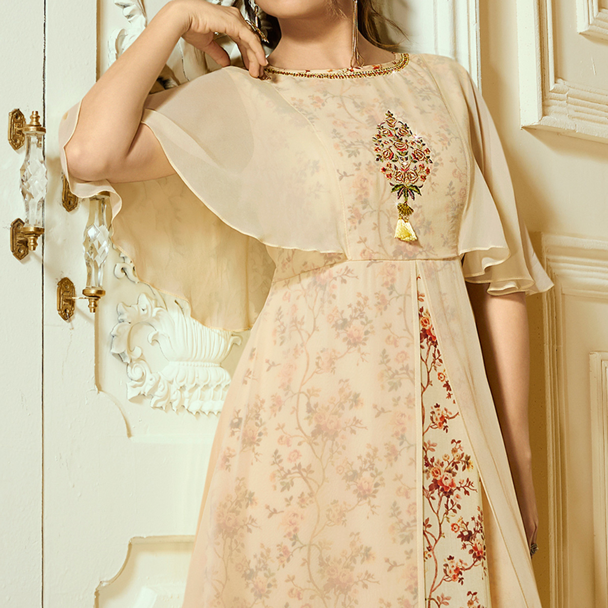 Pleasant Beige Colored Partywear Embroidered Georgette Kurti