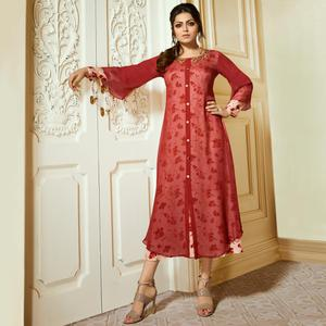Majestic Red Colored Partywear Embroidered Georgette Kurti