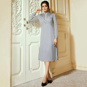 Desiring Gray Colored Partywear Embroidered Georgette Kurti