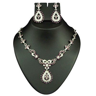 Purple Austrian Stone Rhodium Finish Necklace Sets