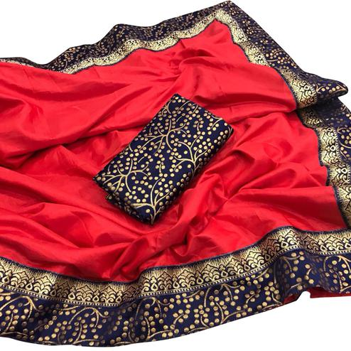 Intricate Red Colored Festive Wear Paper Silk Saree