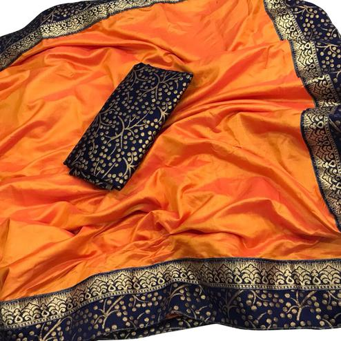 Imposing Orange Colored Festive Wear Paper Silk Saree