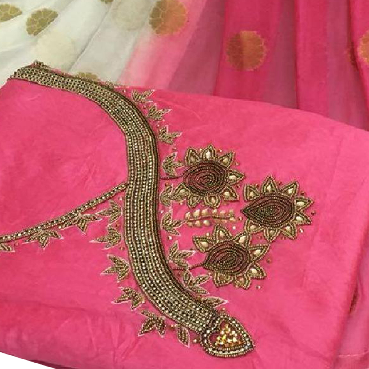 Majesty Pink Colored Partywear Embroidered Modal Chanderi Silk Dress Material