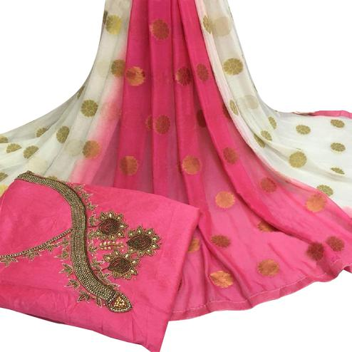 Majesty Pink Colored Partywear Embroidered Modal Chanderi Cotton Dress Material