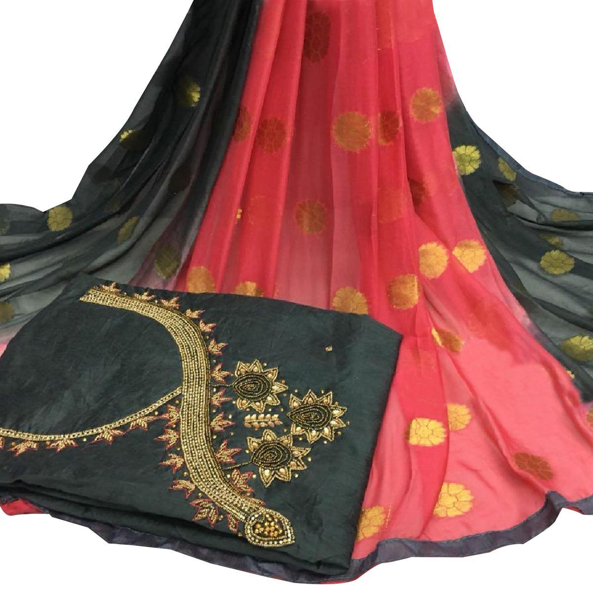 Precious Black Colored Partywear Embroidered Modal Chanderi Silk Dress Material