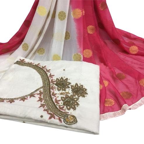 Fantastic White Colored Partywear Embroidered Modal Chanderi Cotton Dress Material