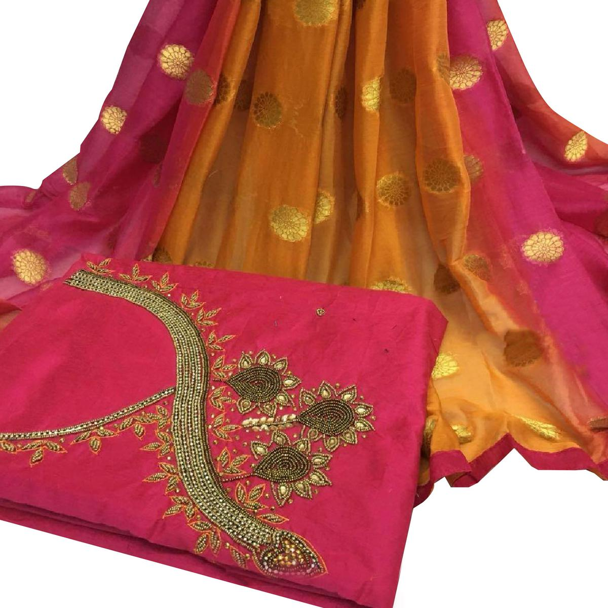 Gorgeous Deep Pink Colored Partywear Embroidered Modal Chanderi Silk Dress Material