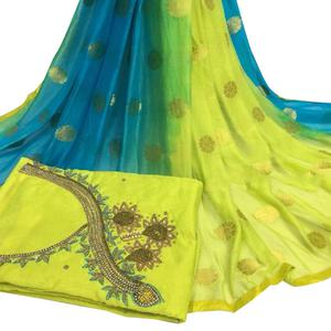 Classy Light Green Colored Partywear Embroidered Modal Chanderi Cotton Dress Material