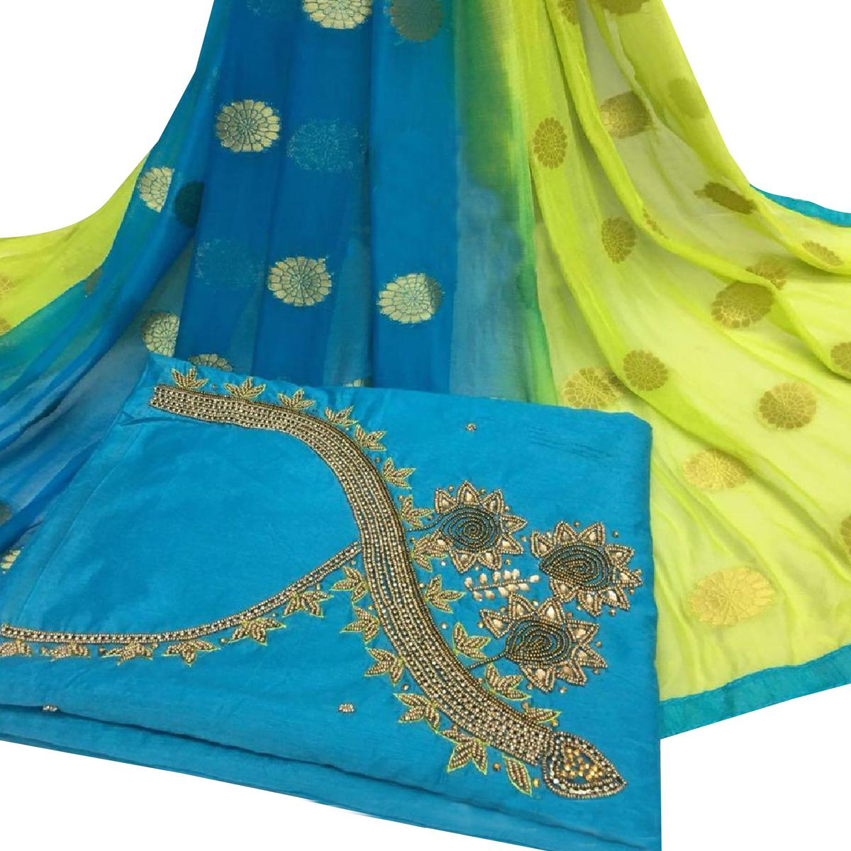Ethnic Sky Blue Colored Partywear Embroidered Modal Chanderi Silk Dress Material
