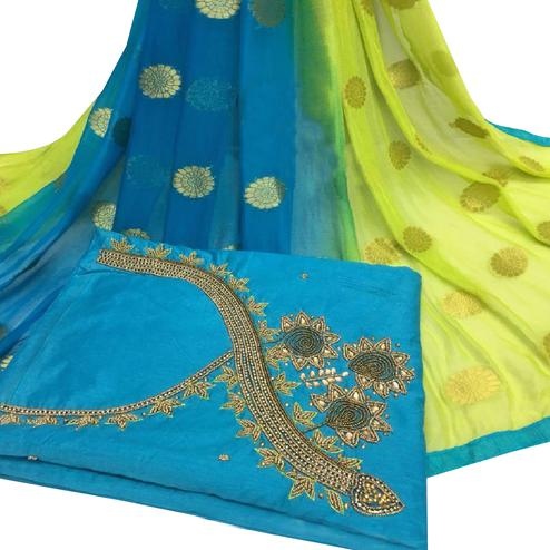 Ethnic Sky Blue Colored Partywear Embroidered Modal Chanderi Cotton Dress Material
