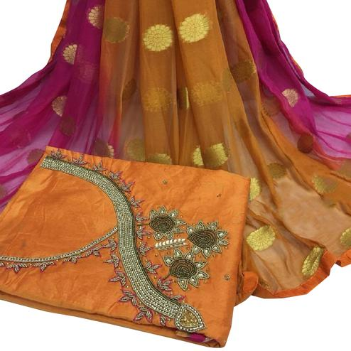 Charming Orange Colored Partywear Embroidered Modal Chanderi Cotton Dress Material