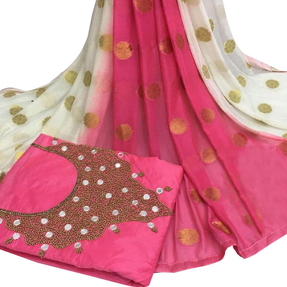 Lovely Pink Colored Partywear Embroidered Modal Chanderi Silk Dress Material