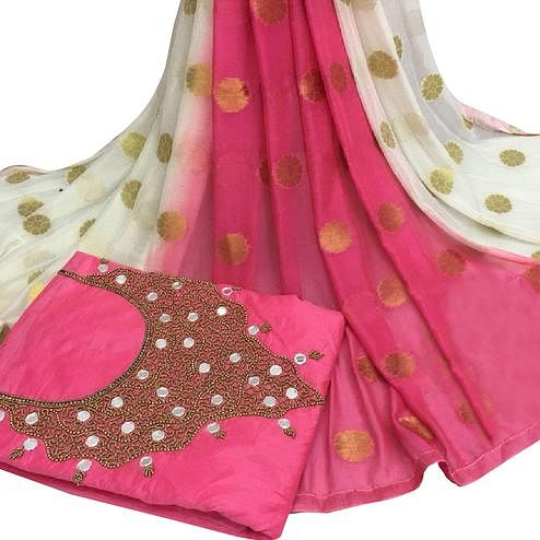 Lovely Pink Colored Partywear Embroidered Modal Chanderi Cotton Dress Material