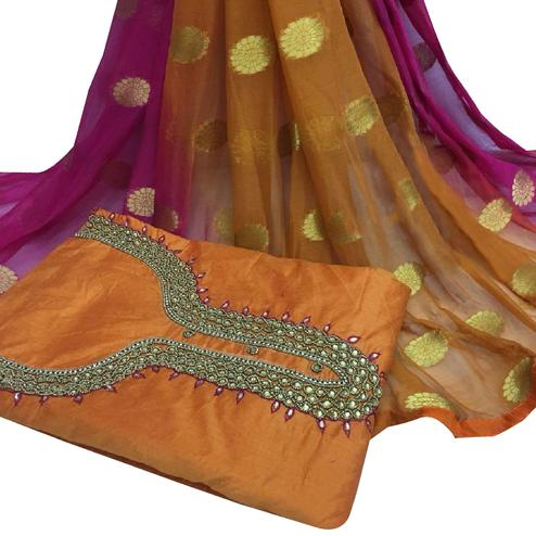 Amazing Orange Colored Partywear Embroidered Modal Chanderi Cotton Dress Material