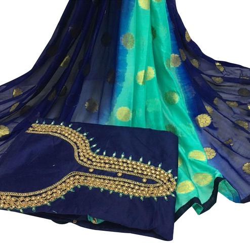 Charming Navy Blue Colored Partywear Embroidered Modal Chanderi Cotton Dress Material